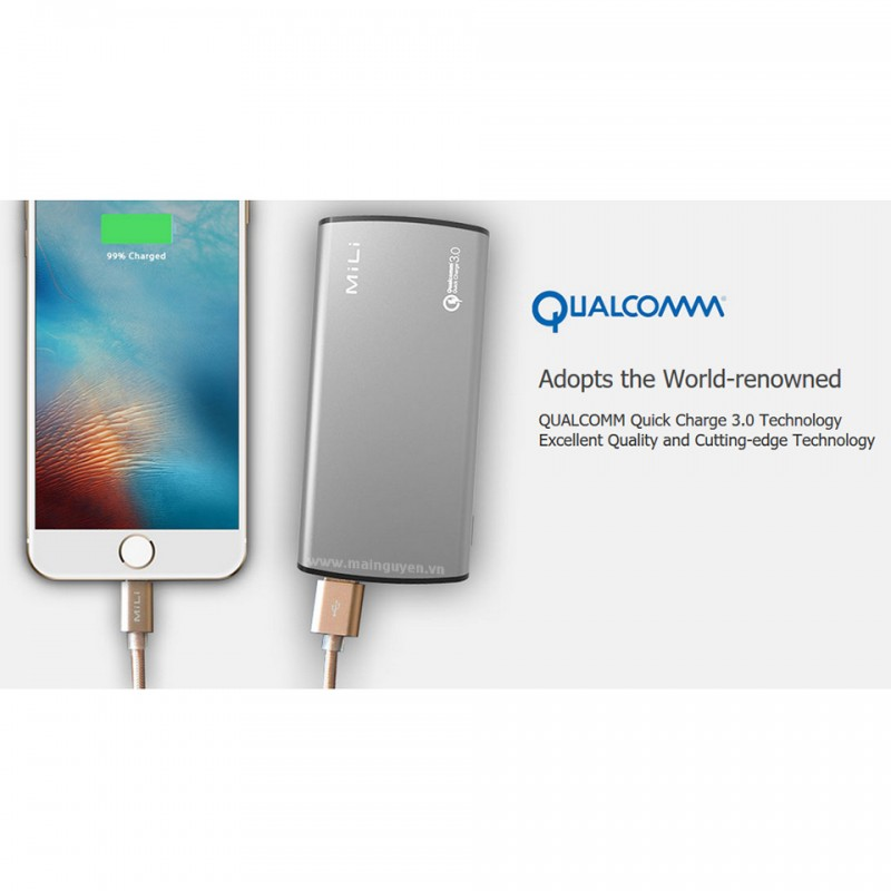 Pin dự phòng MiLi Power Miracle III (HB-Q10) 10000mAh Quick Charge 3.0 5