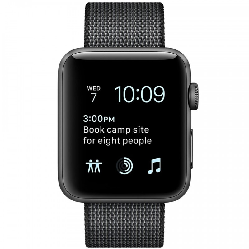 Apple Watch Series 2 38mm Space Grey Aluminum Case with Black Woven Nylon Band MP052VN/A 2