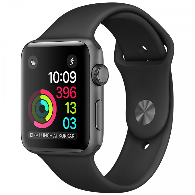 Apple Watch Series 2 38mm Space Grey Aluminium Case with Black Sport Band MP0D2VN/A 1
