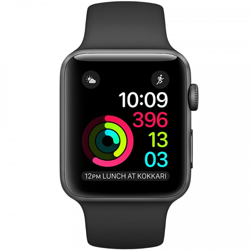 Apple Watch Series 2 38mm Space Grey Aluminium Case with Black Sport Band MP0D2VN/A 2