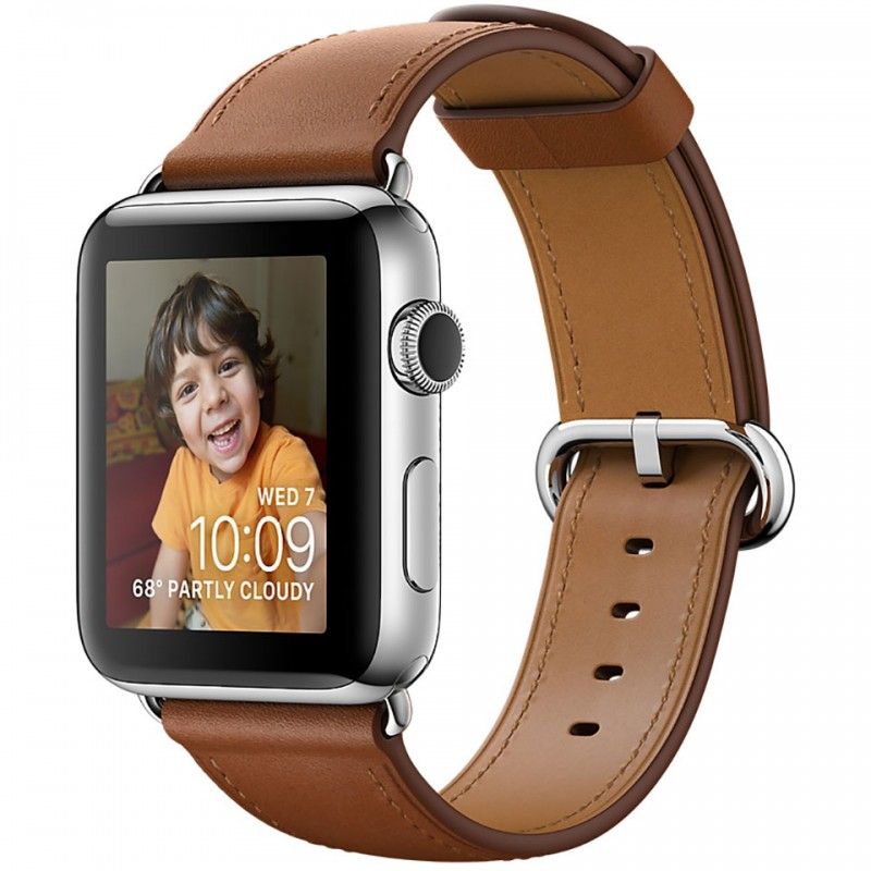 Apple Watch Series 2 42mm Stainless Steel Case with Saddle Brown Classic Buckle MNPV2VN/A 1