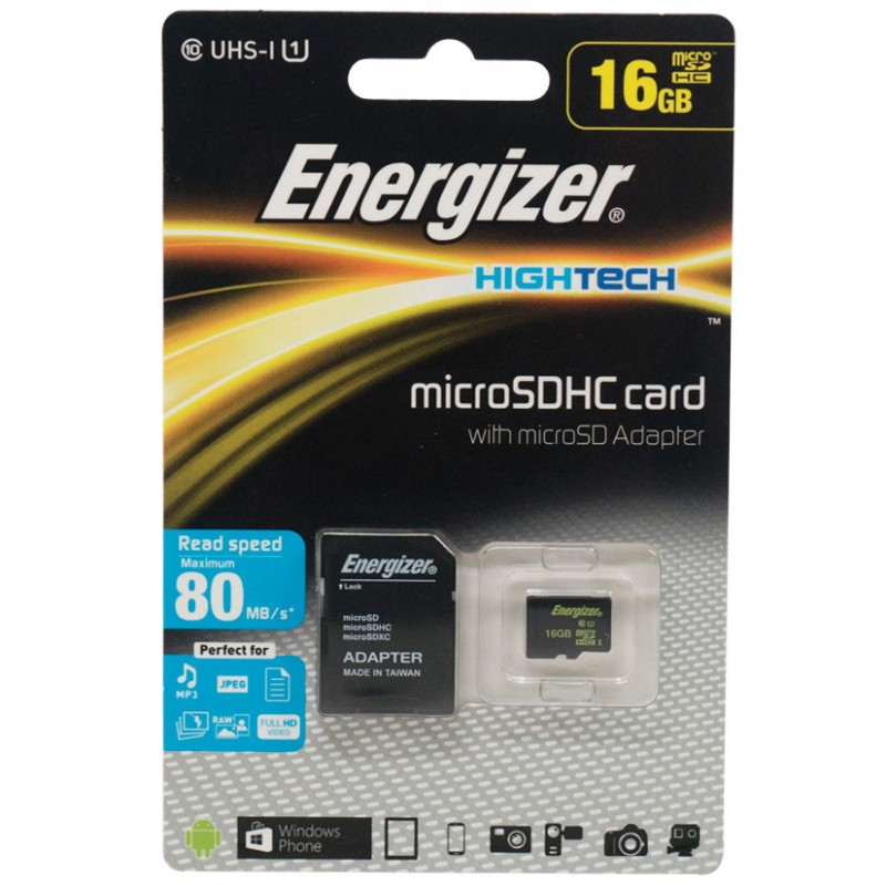 Thẻ nhớ Class 10 Energizer High Tech 16GB Micro SDHC with Adapter FMDABH016A