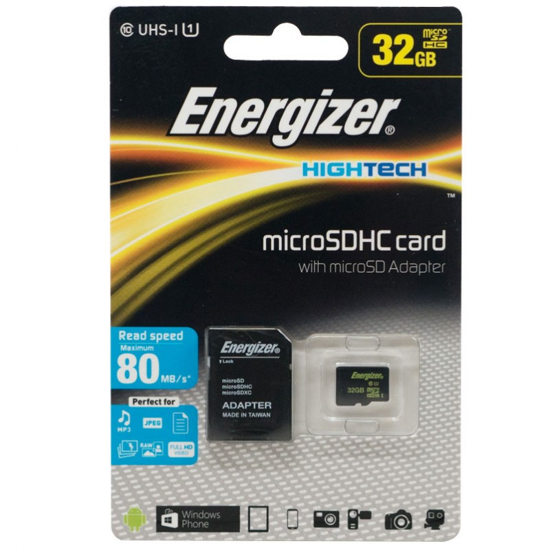Thẻ nhớ Class 10 Energizer High Tech 32GB Micro SDHC with Adapter FMDAAH032A