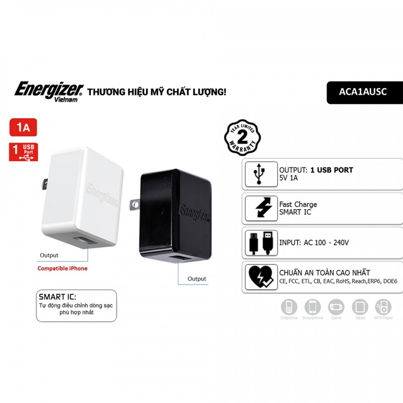 Sạc Energizer CL 1A 1USB ACA1AUSC for Android/iPhone 4