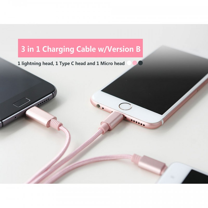 Cáp Rock Space 3 in 1 charging cable version B RCB0437 6
