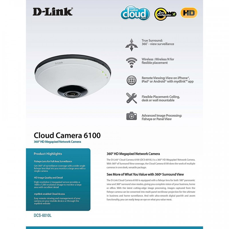 Panoramic Wireless Cloud Camera D-Link DCS-6010L 7