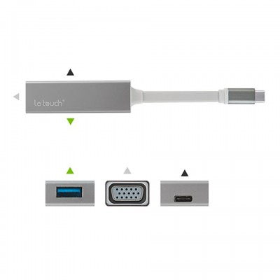 Letouch USB 3.0 Type-C to USB VGA Hub with Power Delivery