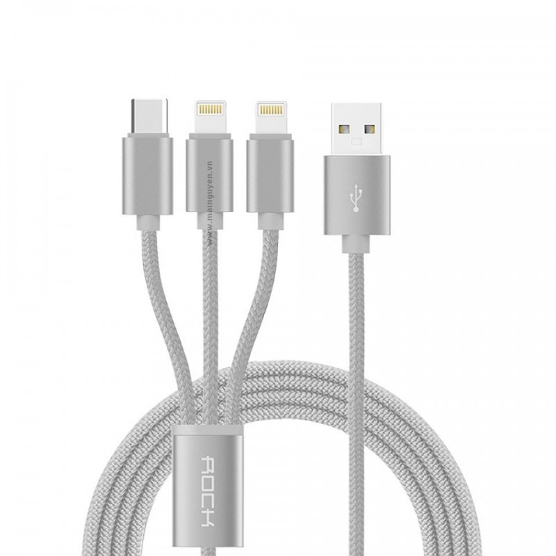 Cáp Rock Space 3 in 1 charging cable version A 3