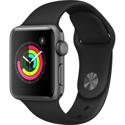 Apple Watch Series 3 38mm Space Gray Aluminum Case with Black Sport Band (GPS) MQKV2VN/A