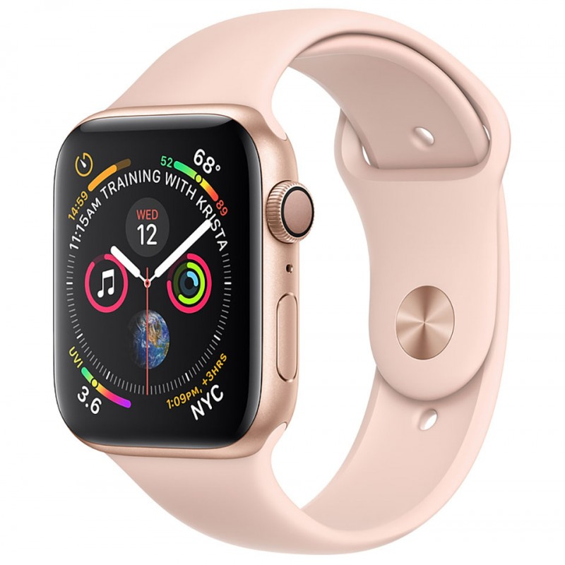 Apple Watch Series 4 44mm Gold Aluminum Case with Pink Sand Sport Band (GPS) MU6F2VN/A 1