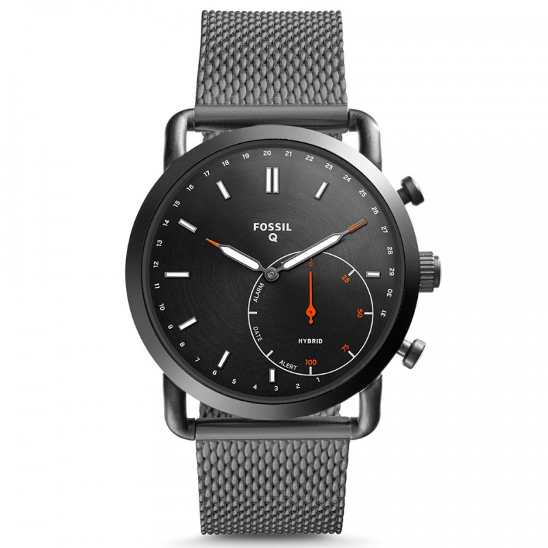 Fossil Hybrid Smartwatch - Q Commuter Smoke Stainless Steel FTW1161 1