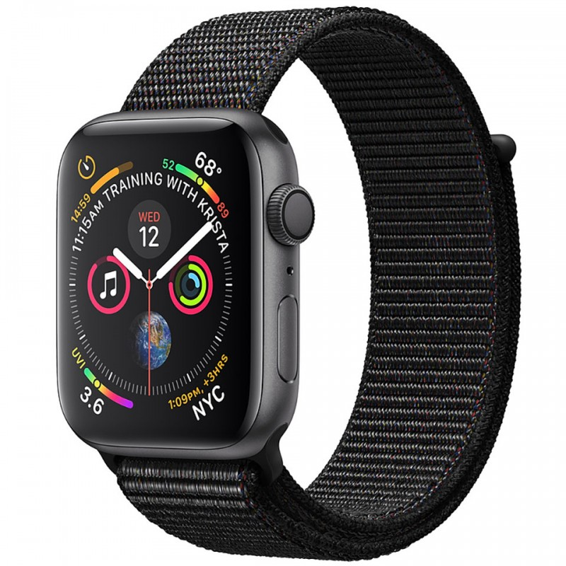 Apple Watch Series 4 44mm Space Gray Aluminum Case with Black Sport Loop (GPS) MU6E2VN/A 1