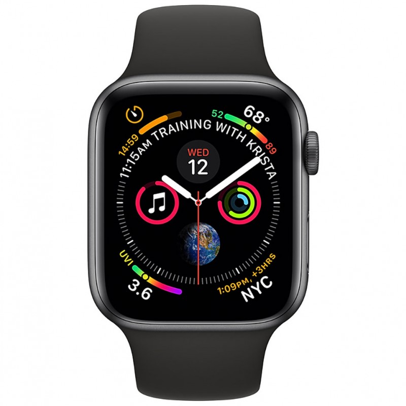 Apple Watch Series 4 44mm Space Gray Aluminum Case with Black Sport Band (GPS) MU6D2VN/A 2