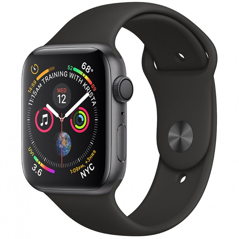 Apple Watch Series 4 44mm Space Gray Aluminum Case with Black Sport Band (GPS) MU6D2VN/A 1