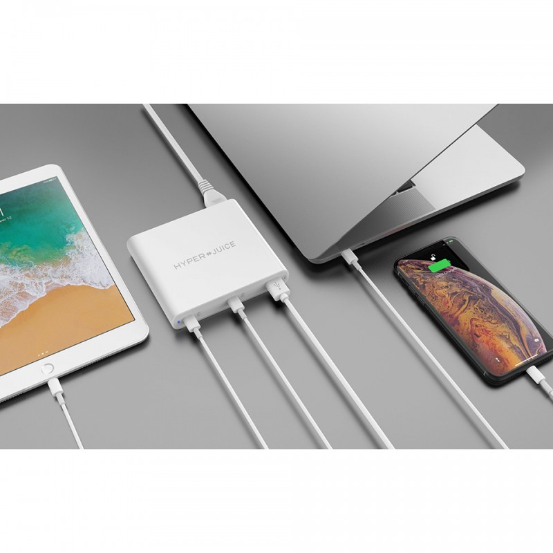 Sạc MacBook Hyper Juice 87W Dual USB-C / QC4.0 tích hợp USB-A QC3.0 2