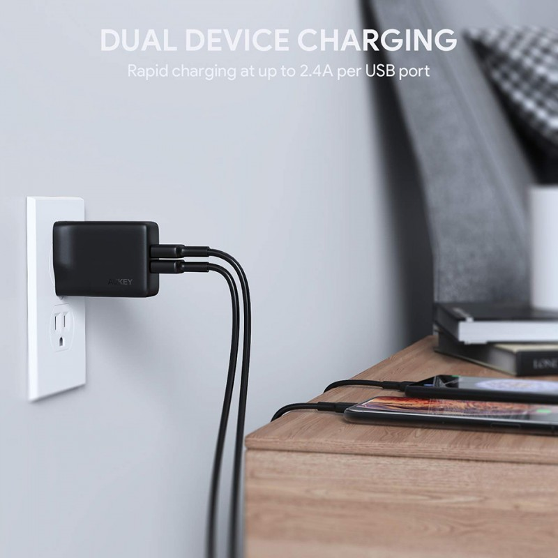 Adapter sạc Aukey Dual-Port USB Wall Charger with GaNFast PA-U50 6