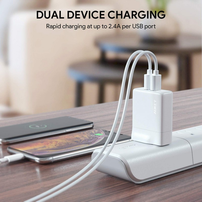 Adapter sạc Aukey Dual-Port USB Wall Charger with GaNFast PA-U50 9