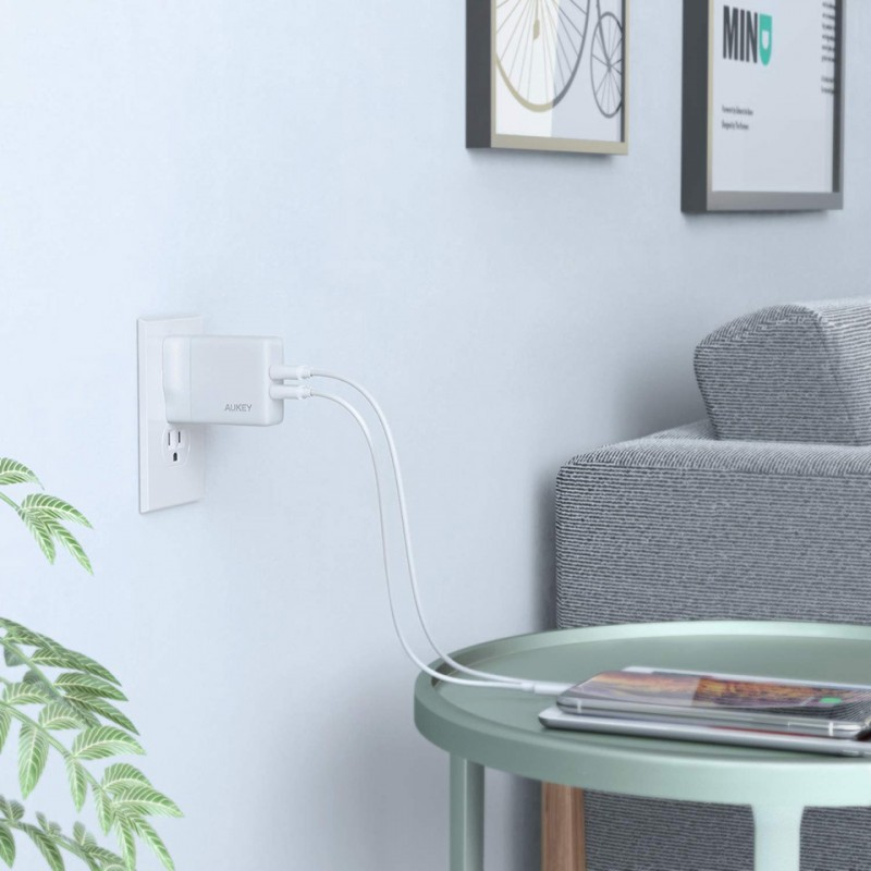 Adapter sạc Aukey Dual-Port USB Wall Charger with GaNFast PA-U50 10