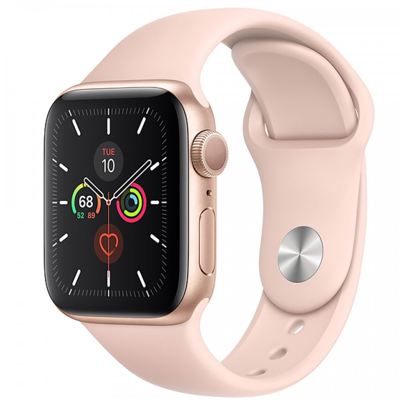Apple Watch Series 5 GPS 44mm Gold Aluminium Case with Pink Sand Sport Band MWVE2VN/A