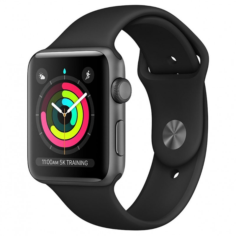 Apple Watch Series 3 GPS 42mm Space Grey Aluminium Case with Black Sport Band MTF32VN/A 1
