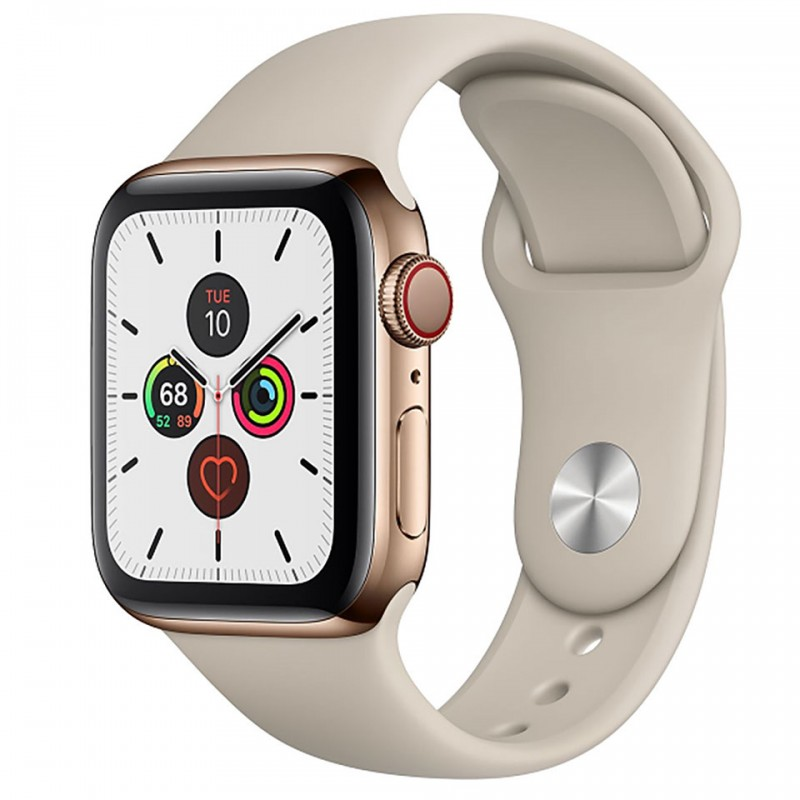 Apple Watch Series 5 GPS + Cellular 40mm Gold Stainless Steel Case with Stone Sport Band MWX62VN/A