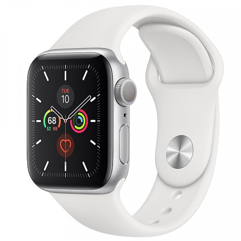 Apple Watch Series 5 GPS + Cellular 40mm Silver Aluminium Case with White Sport Band MWX12VN/A