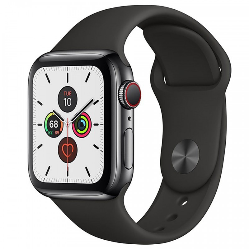 Apple Watch Series 5 GPS + Cellular 44mm Space Black Stainless Steel Case with Black Sport Band MWWK2VN/A