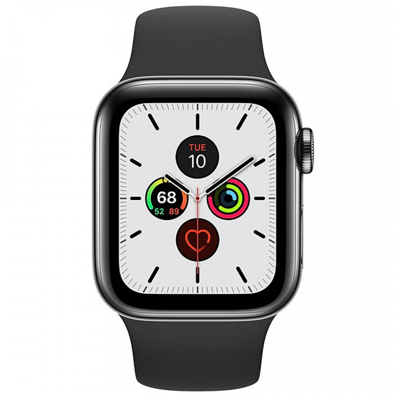 Apple Watch Series 5 GPS + Cellular 44mm Space Black Stainless Steel Case with Black Sport Band MWWK2VN/A 2