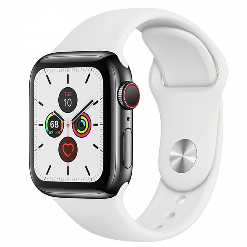 Apple Watch Series 5 GPS + Cellular 44mm Stainless Steel Case with White Sport Band MWWF2VN/A