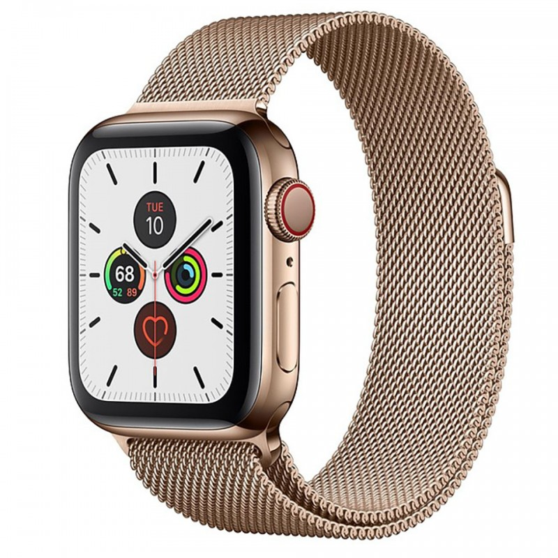 Apple Watch Series 5 GPS + Cellular 44mm Gold Stainless Steel Case with Gold Milanese Loop MWWJ2VN/A