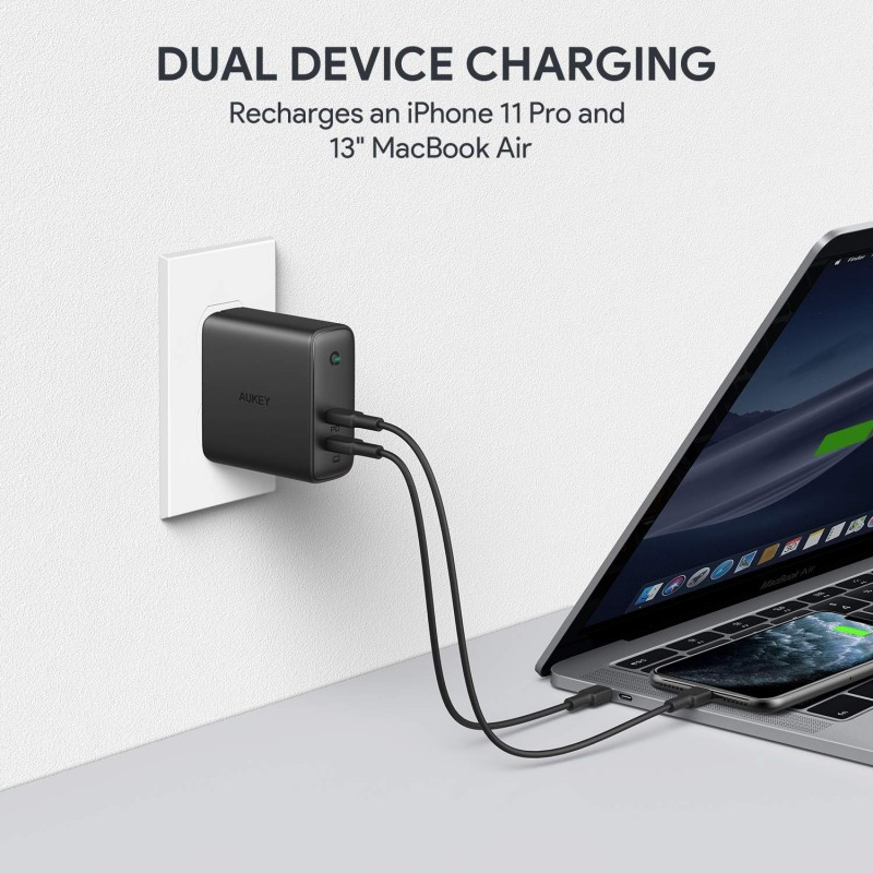 Adapter sạc USB-C PD 2 cổng Aukey Focus Duo 63W PA-D5 4