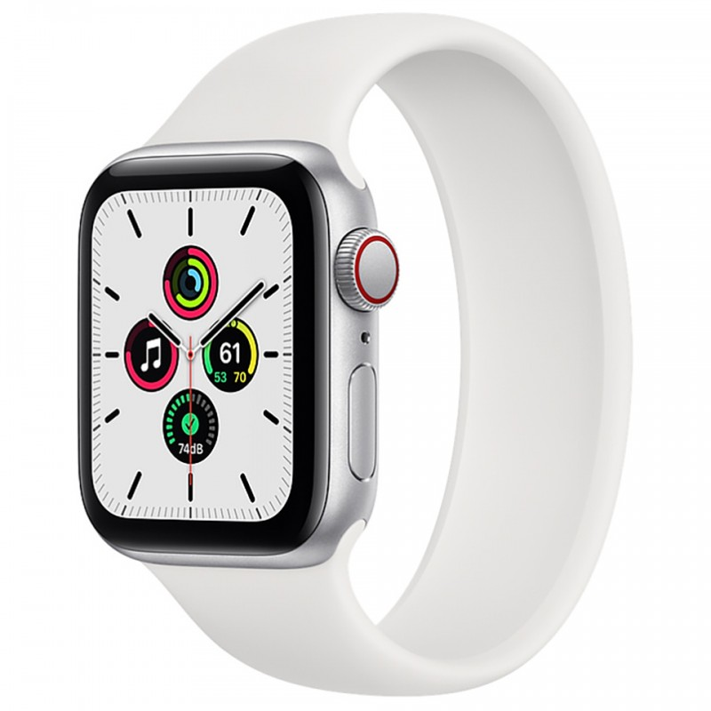 Apple Watch SE GPS + Cellular 40mm Silver Aluminum Case with White Solo Loop Band MYEF2VN/A