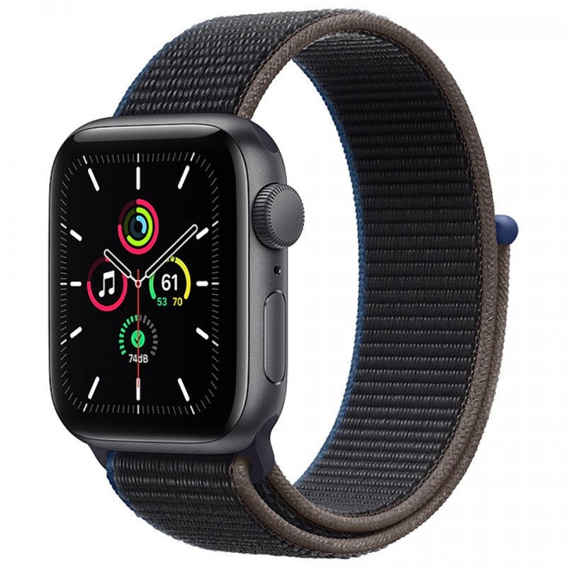 Apple Watch SE GPS + Cellular 40mm Space Gray Aluminum Case with Charcoal Sport Loop Band MYEL2VN/A