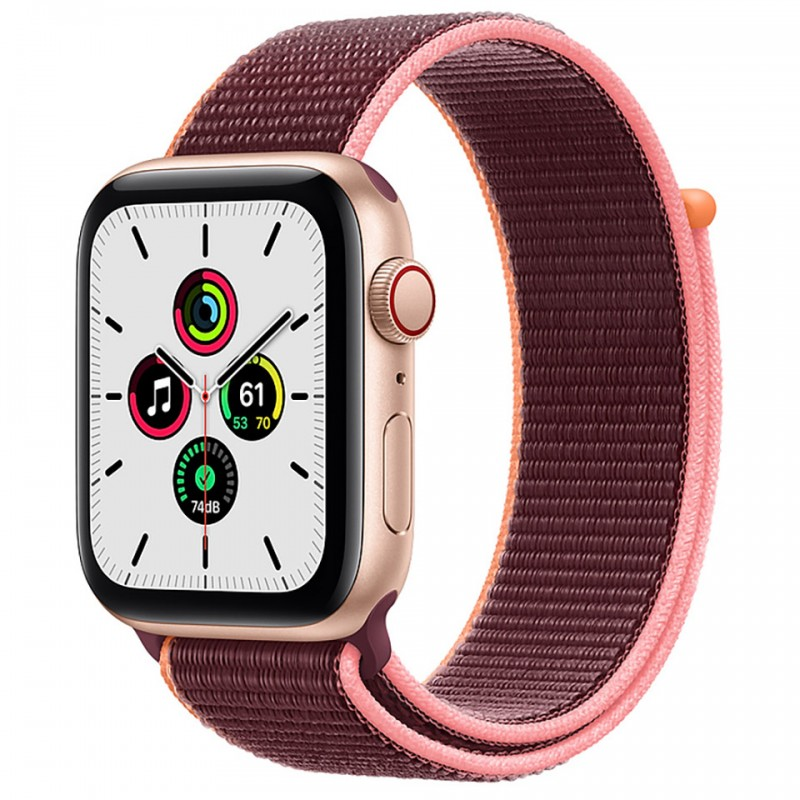 Apple Watch SE GPS + Cellular 44mm Gold Aluminum Case with Plum Sport Loop Band MYEY2VN/A 1