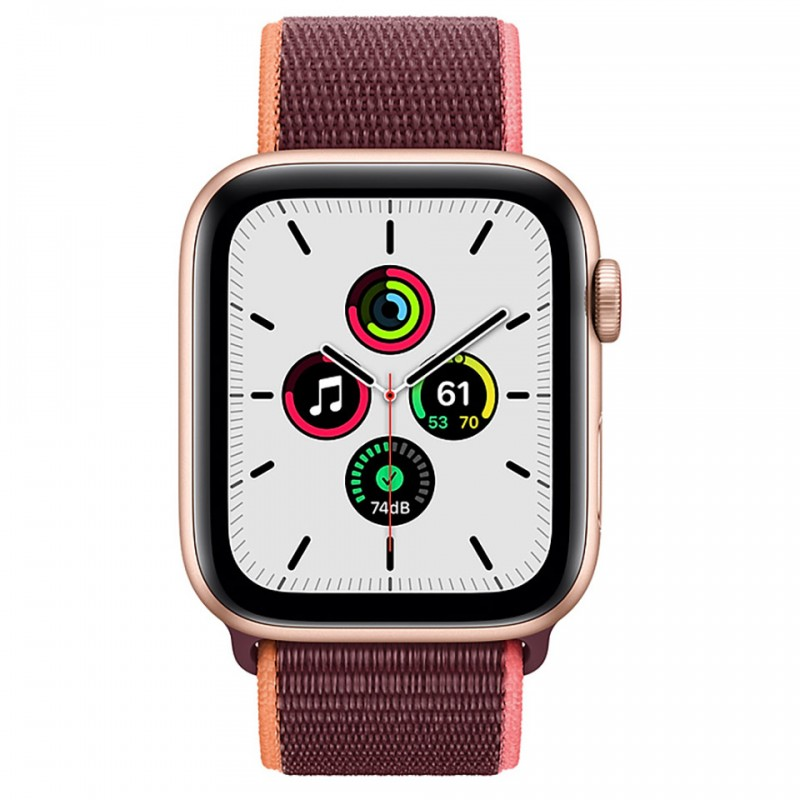 Apple Watch SE GPS + Cellular 44mm Gold Aluminum Case with Plum Sport Loop Band MYEY2VN/A 2