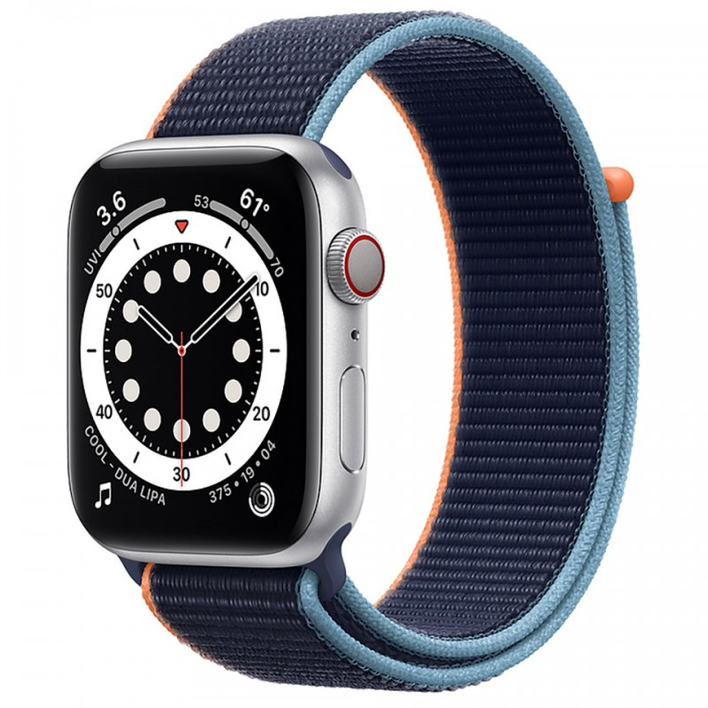 Apple Watch SE GPS + Cellular 44mm Silver Aluminum Case with Deep Navy Sport Loop Band MYEW2VN/A
