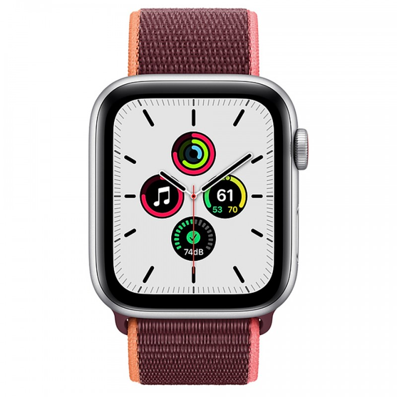 Apple Watch SE GPS + Cellular 40mm Silver Aluminum Case with Plum Sport Loop Band MYEJ2VN/A 2
