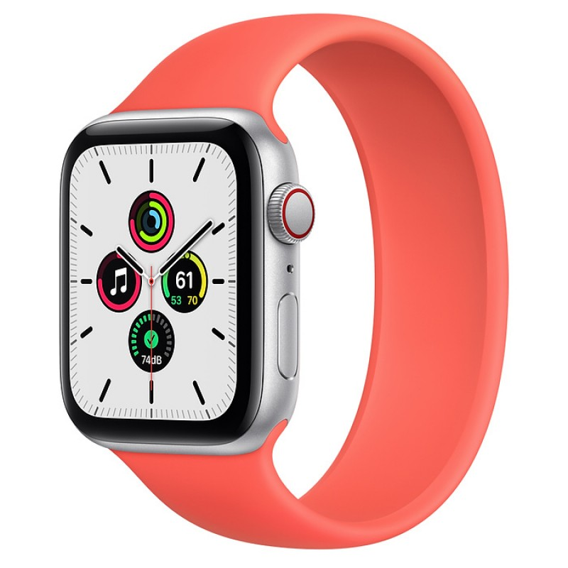 Apple Watch SE GPS + Cellular 40mm Silver Aluminum Case with Deep Pink Solo Loop Band MYEH2VN/A