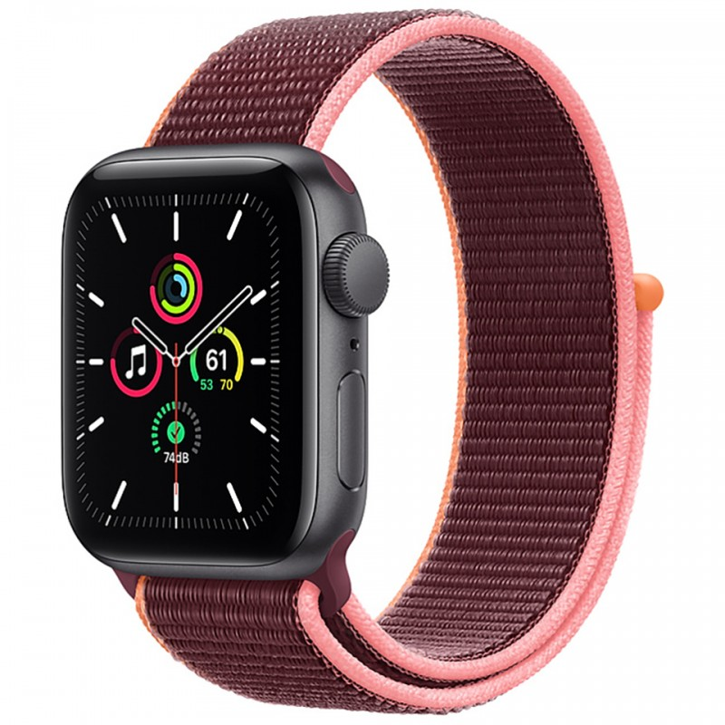 Apple Watch SE GPS + Cellular 44mm Space Gray Aluminum Case with Plum Sport Loop Band MYF02VN/A