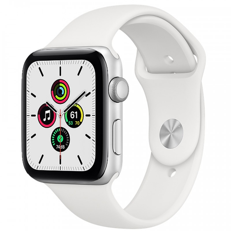 Apple Watch SE GPS 44mm Silver Aluminum Case with White Sport Band MYDQ2VN/A 1