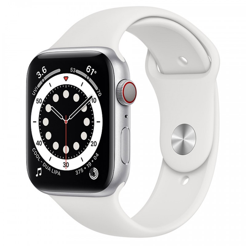 Apple Watch Series 6 GPS + Cellular 40mm Silver Aluminum Case with White Sport Band M06M3VN/A 1