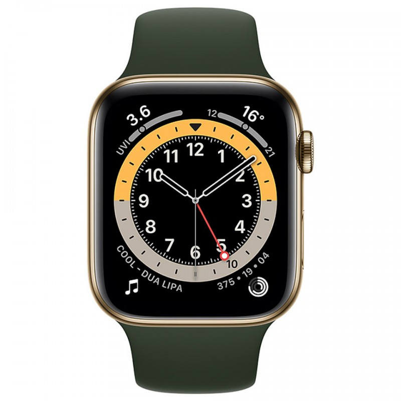 Apple Watch Series 6 GPS + Cellular 44mm Gold Stainless Steel Case with Cyprus Green Sport Band M09F3VN/A 2