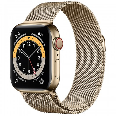 Apple Watch Series 6 GPS + Cellular 44mm Gold Stainless Steel Case with Gold Milanese Loop Band M09G3VN/A