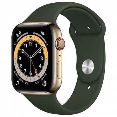 Apple Watch Series 6 GPS + Cellular 44mm Gold Stainless Steel Case with Cyprus Green Sport Band M09F3VN/A