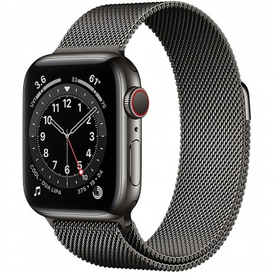 Apple Watch Series 6 GPS + Cellular 44mm Graphite Stainless Steel Case with Graphite Milanese Loop Band M09J3VN/A