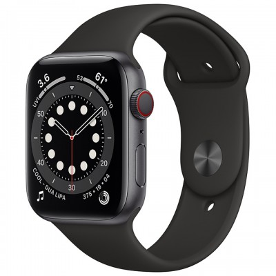 Apple Watch Series 6 GPS + Cellular 44mm Space Gray Aluminum Case with Black Sport Band MG2E3VN/A