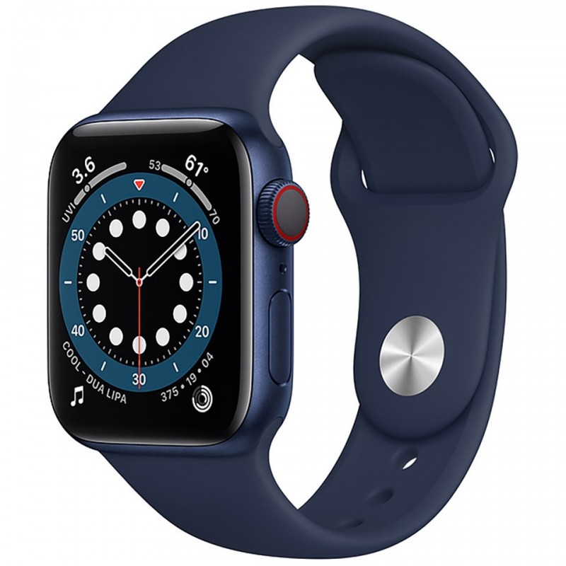 Apple Watch Series 6 GPS + Cellular 40mm Blue Aluminum Case with Deep Navy Sport Band M06Q3VN/A